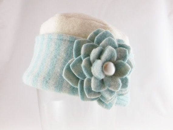 Old Hats From Felted Sweaters | Pillbox Style Hat from Upcycled Felted Wool and Cashmere - Winter ...