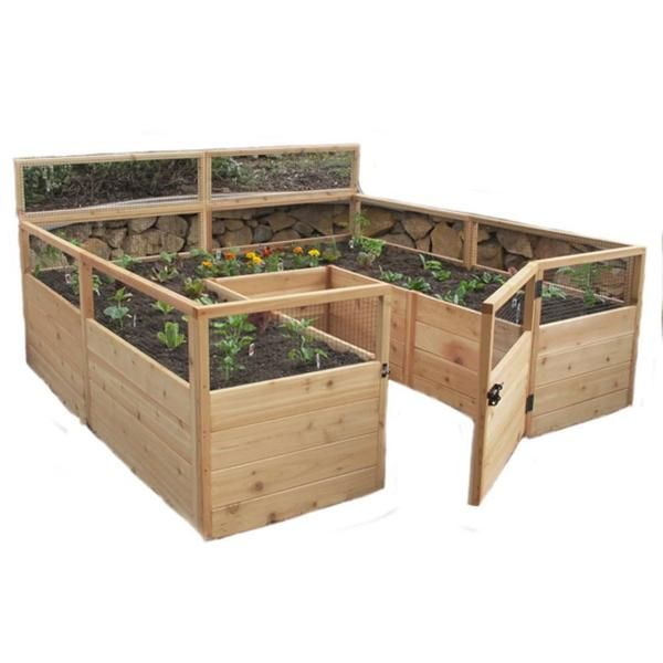 "Great for growing larger plots of veggies and flowers. The raised bed has a door for easy access to you plants. 33"" high wire mesh will keep the dogs and pesky"