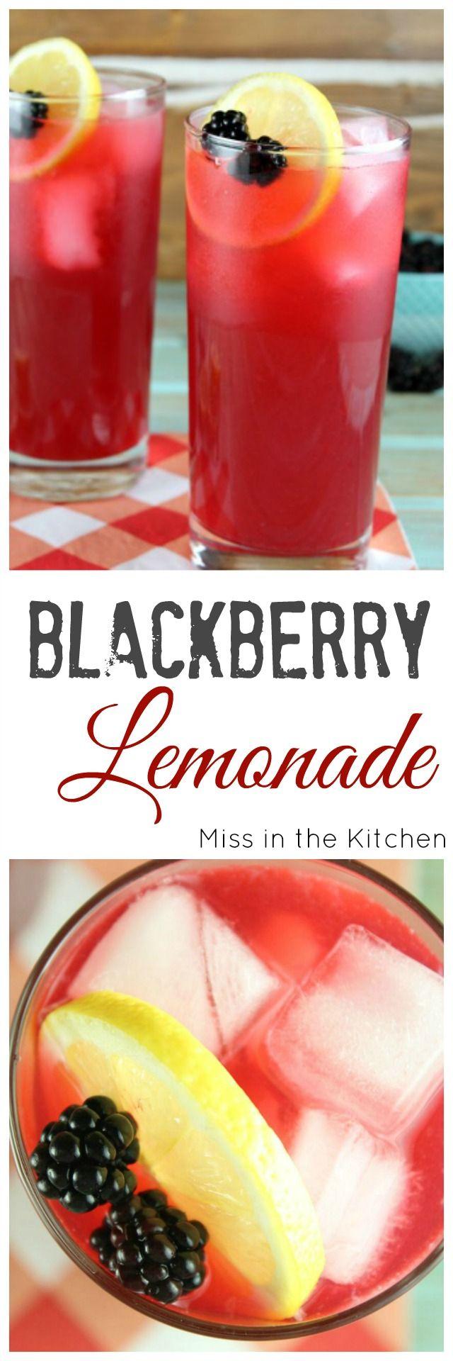 Blackberry Lemonade Recipe to make all summer long! From MissintheKitchen.com