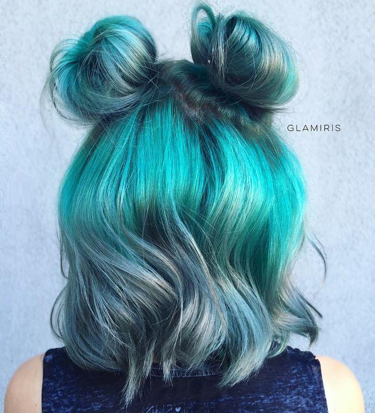 Blue Space Buns Instagram Photo By Glamiris Hair