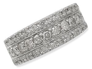 9ct gold Pave-Set Diamond Band Ring 046054 Three rows of pave-set diamonds in three bands cover this stunning ring (1ct total diamond weight), set in a modern, square-edged 9ct gold setting. Currently half sold at half the recommended retail  http://www.comparestoreprices.co.uk/gold-jewellery/9ct-gold-pave-set-diamond-band-ring-046054.asp