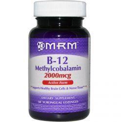 Mrm, B-12, Methylcobalamin, 2000 Mcg, 60 Sublingual Lozenges, Diet Suplements 蛇