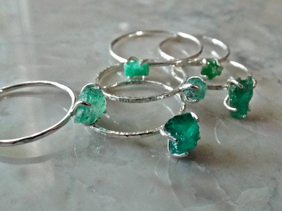 RAW EMERALD RING. Rough natural emerald crystal primitive sterling silver skinny band. Rough gemstone stacker ring. May birthday birthstone