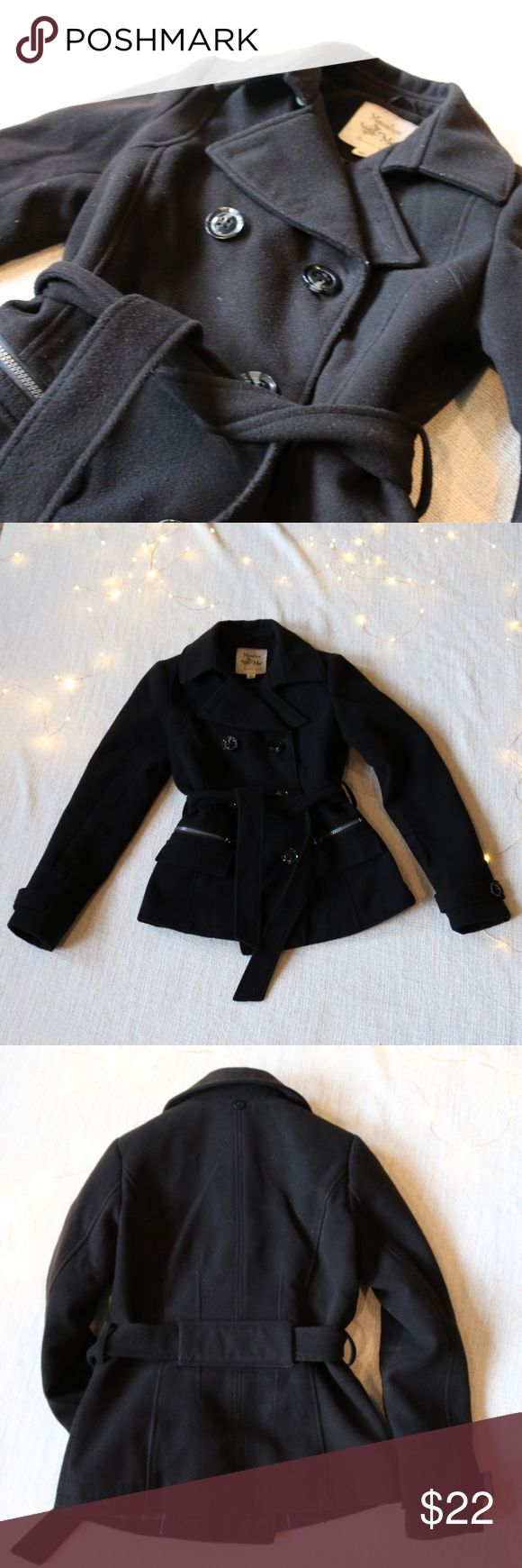 BLACK PEA-COAT Excellent condition. The pictures would be perfect if I'd had a lint roller. 😅   ☁️ Pet/smoke free home ☁️Steam cleaned ☁️No Trades/Paypal Maralyn & Me Jackets & Coats Pea Coats