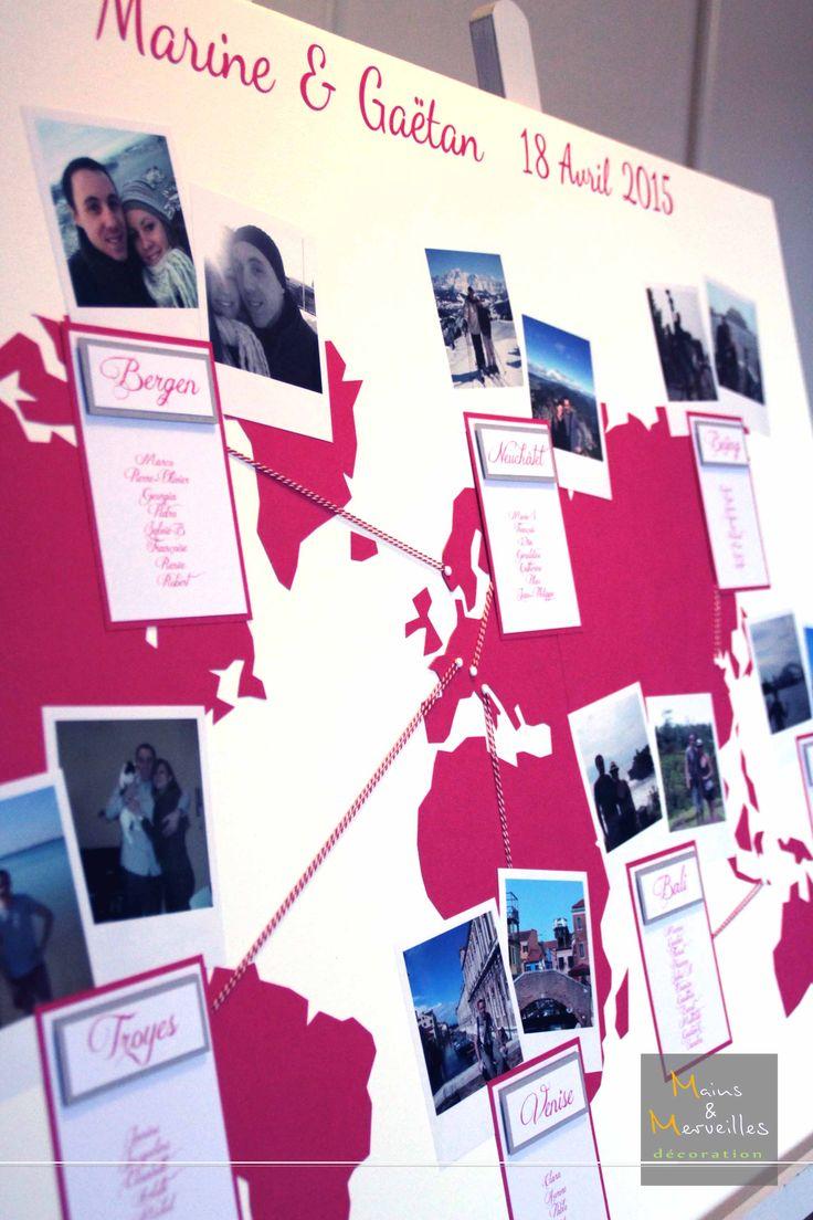 Plan de table mariage - Map Monde http://www.mainsetmerveillesdeco.fr/