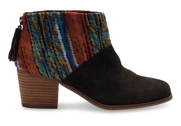 undefined Chocolate Suede Multi Textile Leila Booties