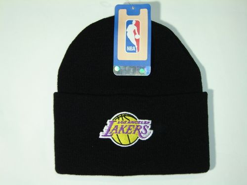 Authentic NBA Los Angeles Lakers Black Classic Cuffed Knit Winter Beanie Hat Cap
