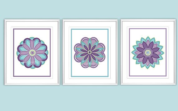 Wall Art - 3 PRINT SET - Purple and Teal - Flowers - Baby Nursery Art - Girls Room Art - Home Decor - Home Prints - Pottery Barn Brooklyn