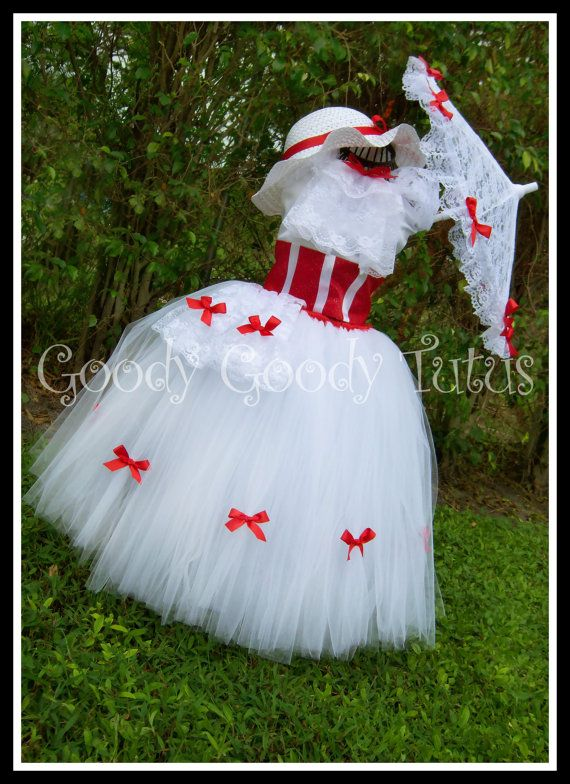 Mary Poppin's Tutu and Corset Set with Gloves, Hat and Parasol - 5 Piece Set. via Etsy.