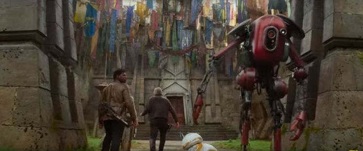 Finn, Rey, Han Solo, BB8, and robot go to mysterious temple: