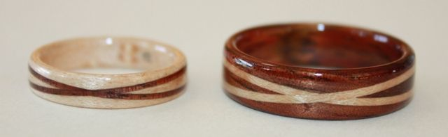 His and hers, Maple Wood and Hawaiian Koa.