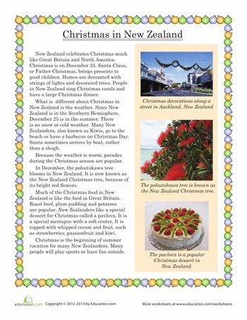 Worksheets: Christmas in New Zealand