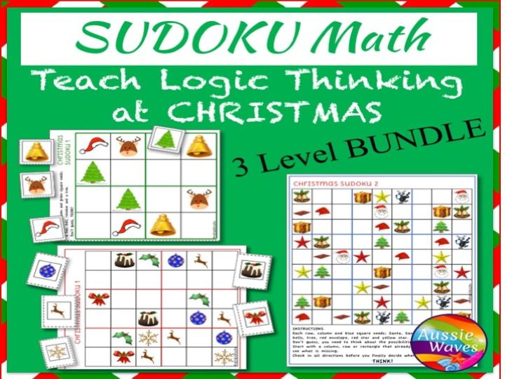 Printable CHRISTMAS Math Activities SUDOKU Puzzle BUNDLE of 3 Levels Teach Logical Thinking