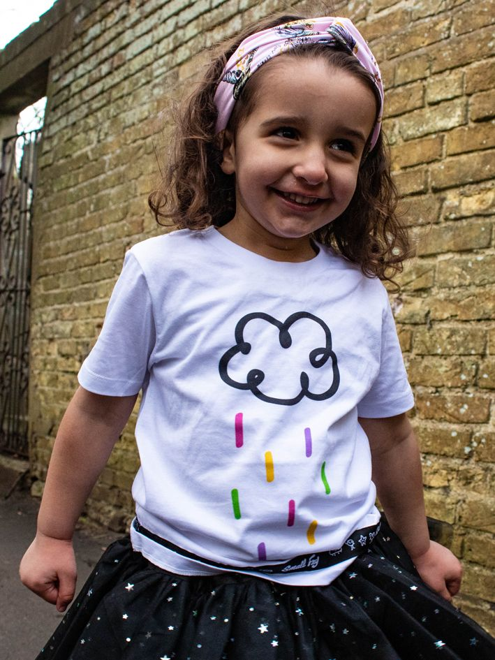 b960bd130 Organic children's tshirt with happy raincloud print and black ribbon trim # raincloud #cute #happy #childrensfashion #colourful #rainbow #tutu