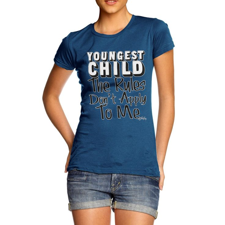 Twisted Envy Women's Youngest Child Rules Don?t Apply To me Organic Cotton Royal Blue T-Shirt Medium. Youngest Child Rules Don?t Apply To me Print. Sustainability is more than a label, Twisted Envy was conceived from a belief that the textiles industry has to start acting a lot more responsibly. All T Shirts are made from Organic Cotton. Printed with non-toxic print that uses no chemicals and does not damage the cotton fibres to ensure a soft feel with a funky design. Wonderful Gifts For...