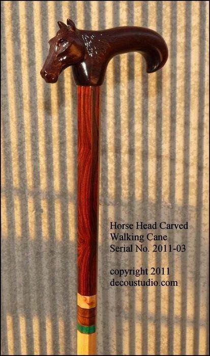 Custom dress formal walking cane horse head hand carved