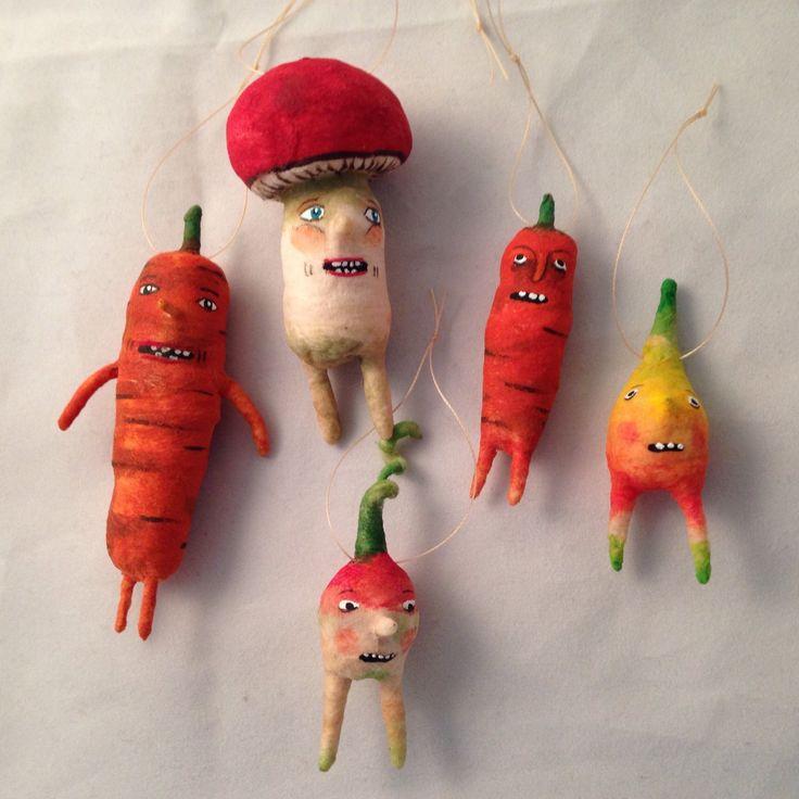 Spun cotton vegetable ornaments set by maria paula