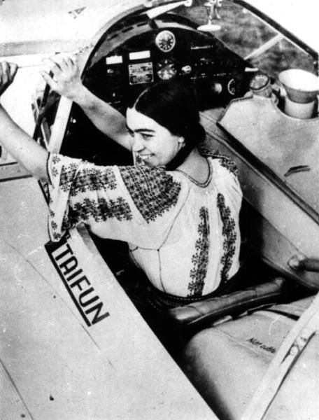 Smaranda Braescu or the Queen of the Air, a #Romanian aviation hero and record holder parachuting. She brought the #RomanianBlouse to great heights.