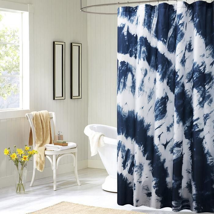 Boho Tie Dye Blue Polyester Shower Curtain