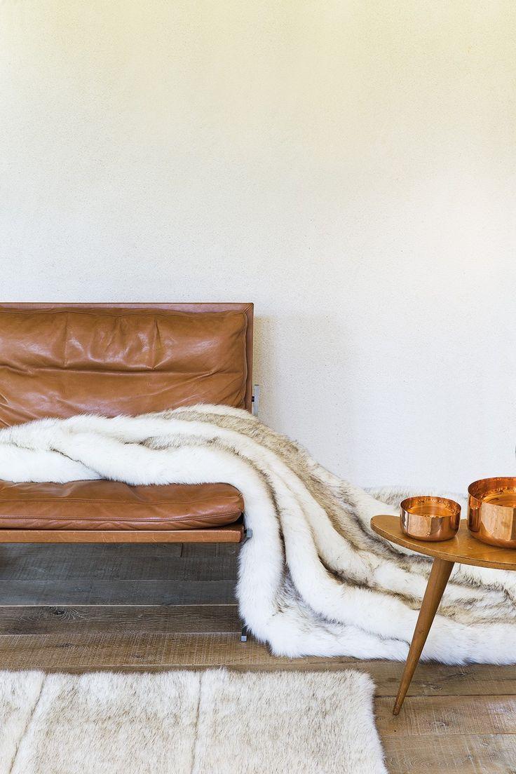 Grand tapis imitation FOURRURE FEEL 2 beige