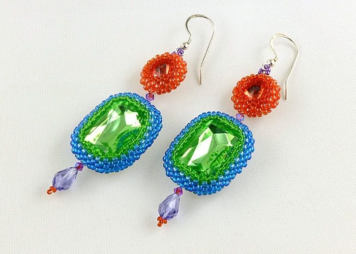 Color Block Beaded Rhinestone Dangle Earrings Bead Embellished Coral Peridot Green Ocean Blue Purple