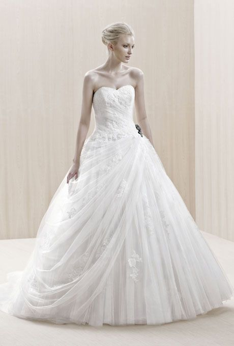 "Brides.com: . ""Enschede"" strapless lace and tulle ball gown wedding dress with a sweetheart neckline, Blue By Enzoani"