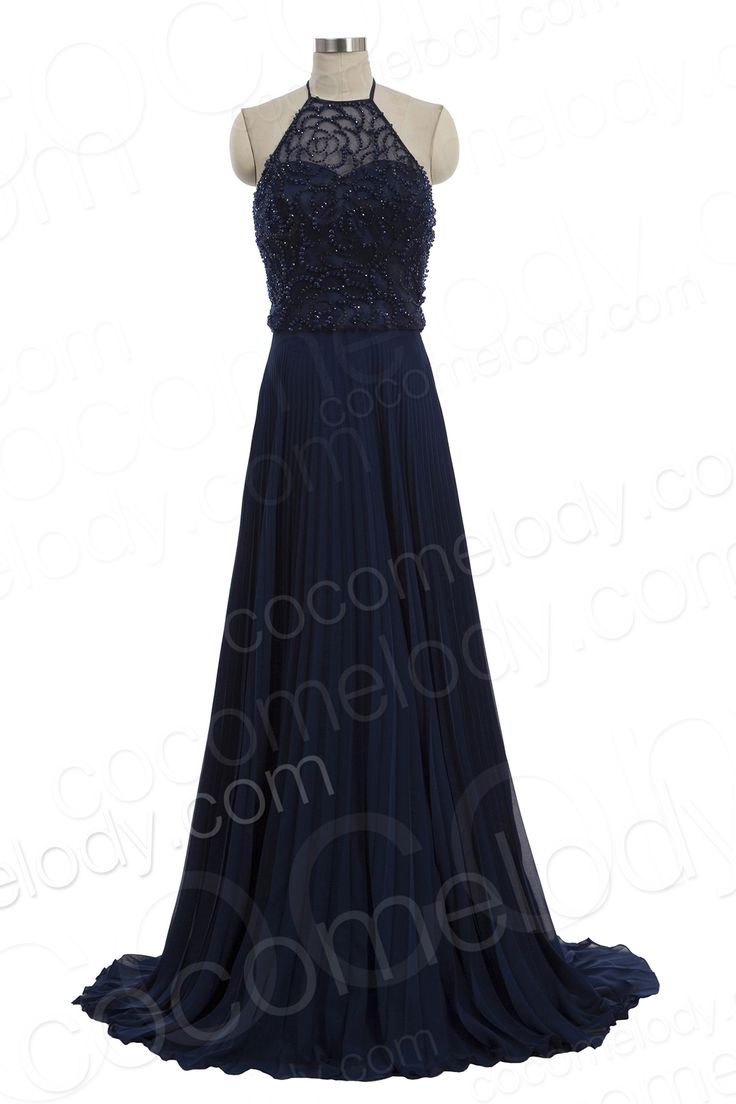 Glamour A-Line Halter Natural Train Chiffon Dark Navy Sleeveless Backless Mother of The Bride Dress with Beading COVT15001