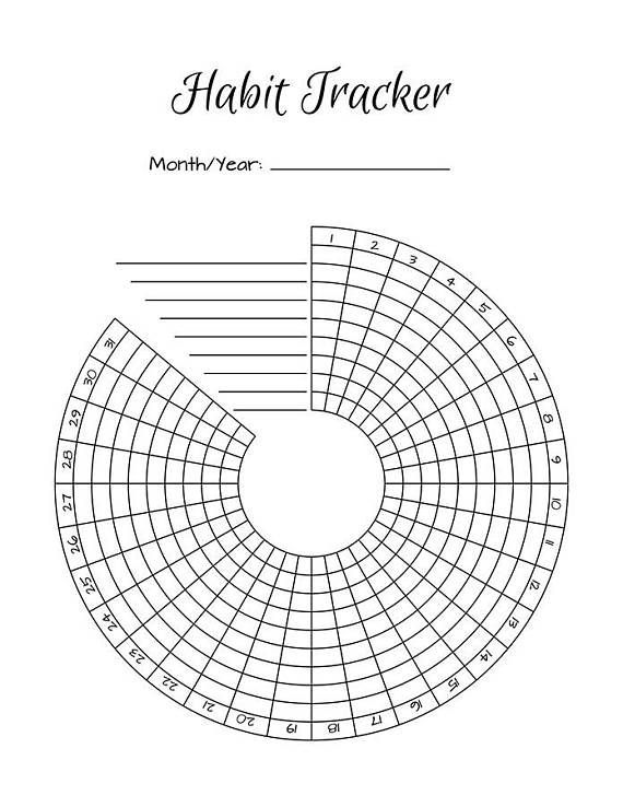 2 Bullet Journal Printable Habit Trackers, Circle Habit Tracker, Radial Habit Tracker, Habit Tracker Chart, Habit Planner Inserts, PDFs