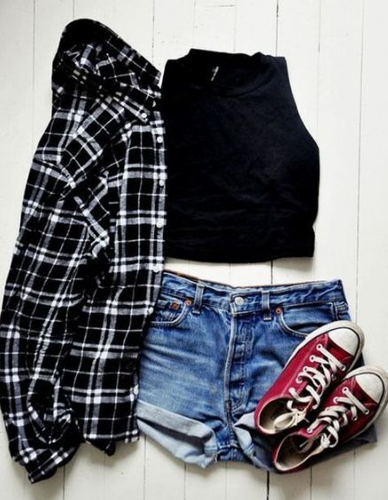 Cute flannel country girl teenage rocker shorts summer spring outfit                                                                                                                                                                                 More