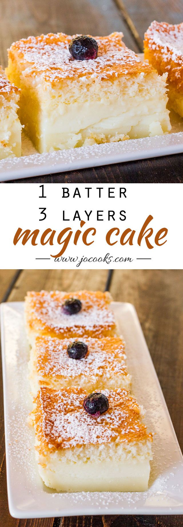 Magic Cake - The hardest thing you have to do is make the batter, pour the batter in a 8 inch x 8 inch baking dish, place it in the oven and let the magic happen. After an hour you have a perfect 3 layer cake with the most delicious custard layer.