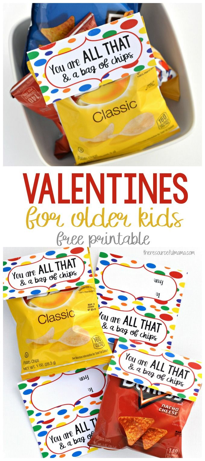 "Chips and ""You Are All That & a Bag of Chips"" cards make are simple, quick, inexpensive, and kid approved Valentines for older kids. #valentinesday #valentine"