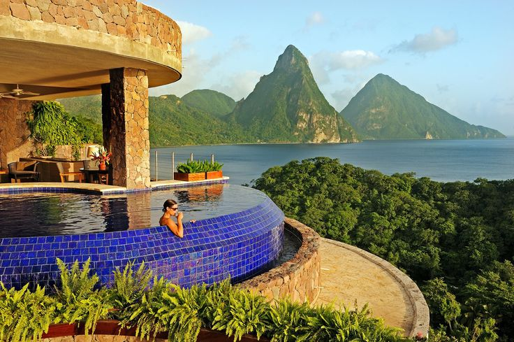 Wrapped around an infinity pool, Jade Mountain Club in St. Lucia nourishes the body and soul. Jade Mountain's sanctuaries are stage-like settings from which to embrace the full glory of St Lucia and the Caribbean Sea. The Jade Mountain concierge is available at all times and tour guides will share their wealth of information. Its Jade Cuisine, created by James Beard award winner Chef Allen Susser, is a brave new world of tropical flavors.