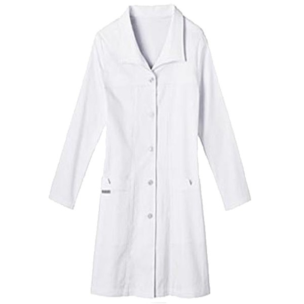 The perfect blend of fashion and function, the wing collar and unique stitch detailing on this stylish lab coat make it a fantastic find. Two notched pockets offer much-needed storage solutions, while a loose-styled back belt ties it together beautifully.