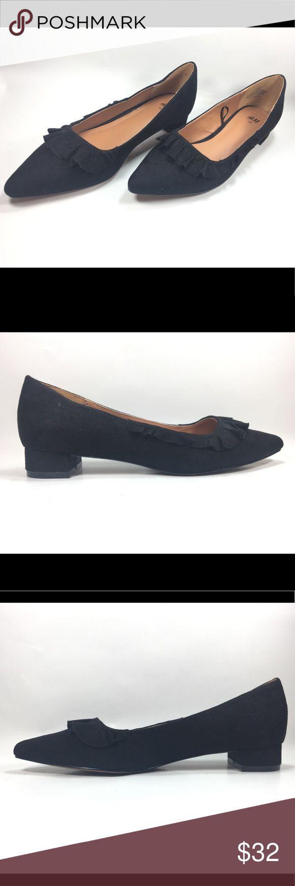 H&M Black Faux Suede Ballerina Pumps Size 5.5 Excellent Condition. Normal Wear To Sole/Heal. H&M Black Faux Suede Pointy Toe Low Block Heel Ballerina Pumps Size 5.5. Shoe #045 H&M Shoes Heels