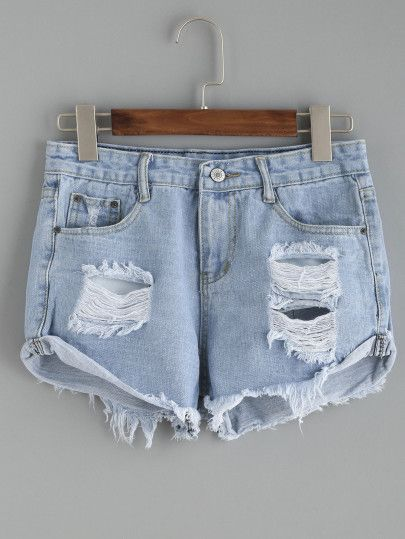 Pantaloni corti in denim strappati con bordo avvolto - blu