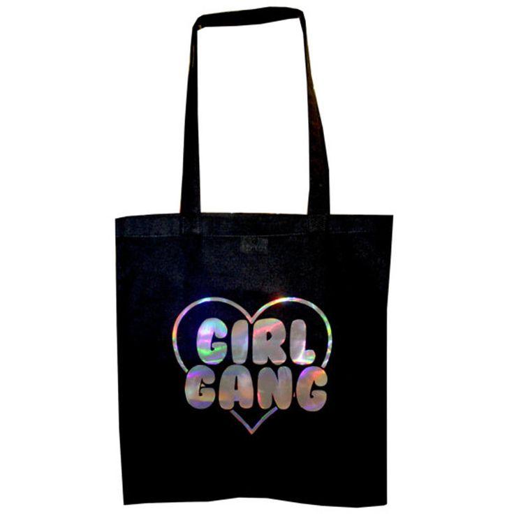 Extreme Largeness Girl Gang holografisch boodschappen (tote) tas zwart