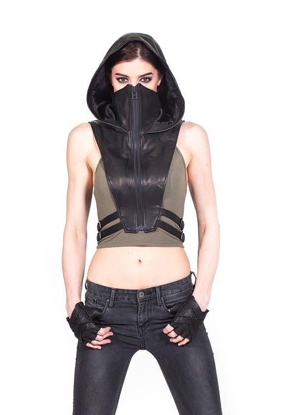 NINJA KOMBAT Tech wear hooded crop top vest in black leather