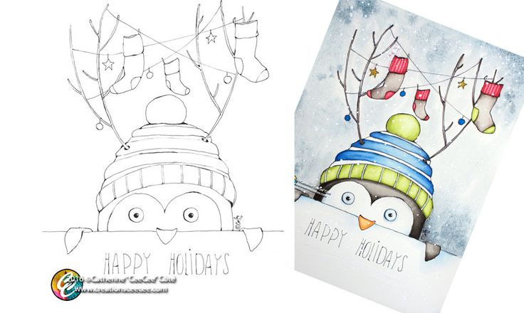 printable coloring page - holiday penguin by creationsCeeCee on Etsy
