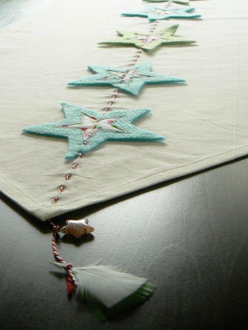 Weihnachten deko, winter, christmas deco, Tischläufer, Table runner, Stoff, fabric, filz, felt