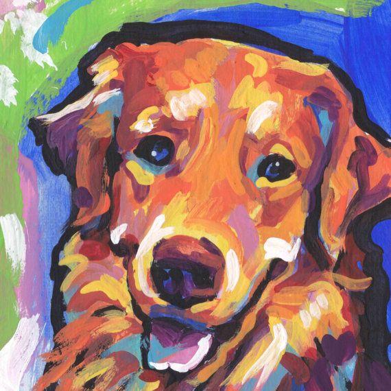 rode Golden Retriever hond staand afdrukken van lichte pop-art schilderij van 8 x 8