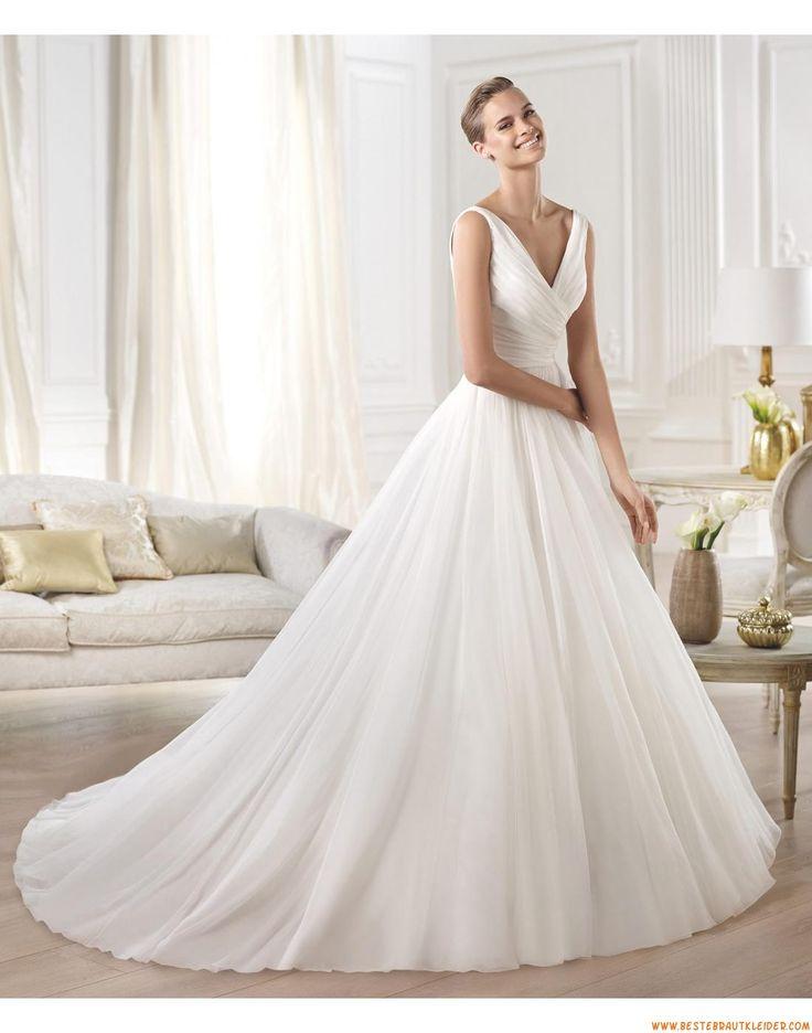 2015 Exklusive V-ausschnitt Schlichte Brautkleider aus Organza mit Schleppe