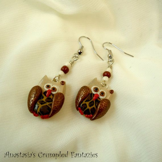 Little owls earrings Polymer clay animal by CrumpledFantazies