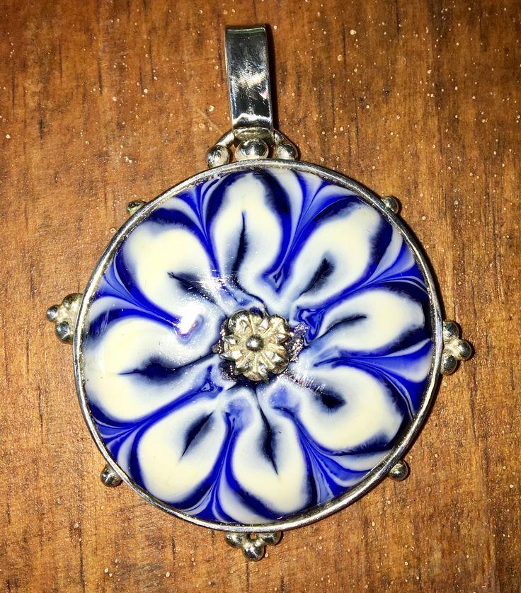 sterling silver / glass handmade pendant
