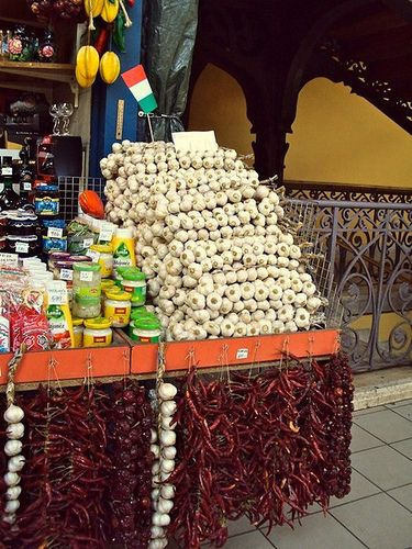 Hungarian garlic and paprika (chilli pepper) at the Great Market Hall, Budapest