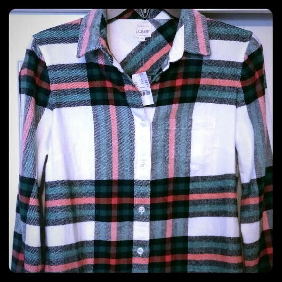 "New w/ Tags J Crew Rock Salt Plaid Flannel Top XS Hard to find, especially NEW! New with tags size XS. Bust about 18"" across, overall length about 28"". Cross posted. No trades, please no lowball offers. Thanks and happy poshing! ♡ J. Crew Tops Button Down Shirts"