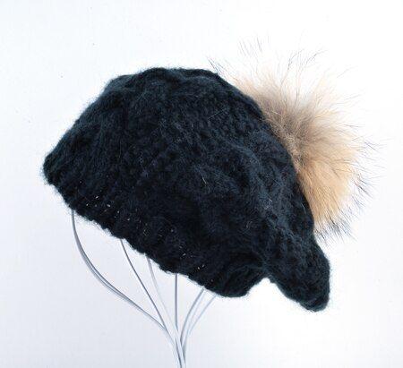 Women Winter Berets Caps Rabbit Velvet Hat with Vintage Raccoon Fur Ball Beanies Beret