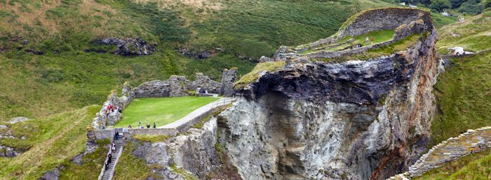 Tintagel Castle is steeped in legend and mystery; said to be the birthplace of King Arthur, you can still visit the nearby Merlin's Cave. -