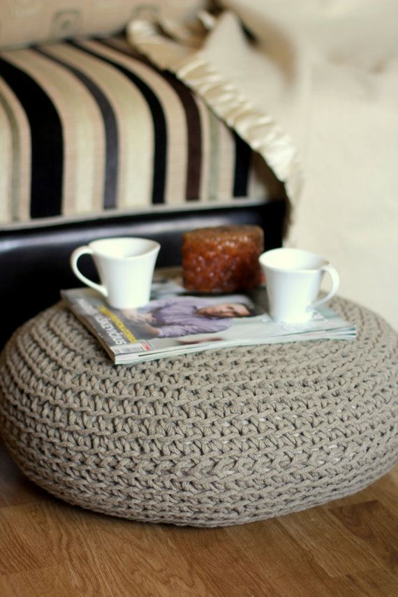 Organic, crochet pouf, Linen pouf, knit pouf, floor cushion, hypoalergic pouf, poof, bean bag chair, Ottoman, footstool, rustic pouf  READY TO SHIPP!!!  - Made from natural, 100 % flax linen cord.  - Linen cord is made of raw flax linen. It is not bleached, not coloured, no chemicals are used, thats why it is ecological.   - Flax linen is called organic by default, because no or very few pesticides are used in growing and no chemicals are used in processing linen cord.  - Pouf has a very…