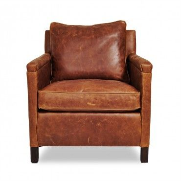 "Irving Place Heston Leather Chair • 30""w x 32""d x 34""h; seat 17""h; arm 24""h"