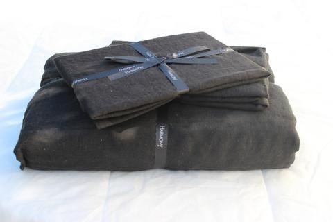 Harmony - Taie oreiller en lin lavé Viti noir ou traversin - Home Beddings and Curtains